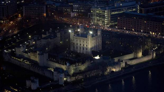 The Tower of London as seen from the View gallery at the Shard in London. (NEIL HALL/REUTERS)