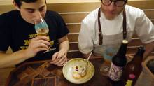 Chef Dan Burns, right, with beer sommelier Joey Pepper, at Luksus in Brooklyn. (Adam Leith Gollner)