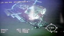 The sunken helicopter wreckage captured underwater by ArcticNet's Remote Operated Vehicle. The helicopter crashed in the frigid waters of the Northwest Passage this month, killing three people. (Handout/Transportation Safety Board of Canada)