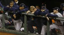 The Detroit Tigers watch during the eighth inning of Game 2 of baseball's World Series against the San Francisco Giants Thursday, Oct. 25, 2012, in San Francisco. (Jeff Chiu/AP)