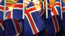 Iceland's flags are seen in souvenir shop in Reykjavik January 27, 2009. (INTS KALNINS/REUTERS)