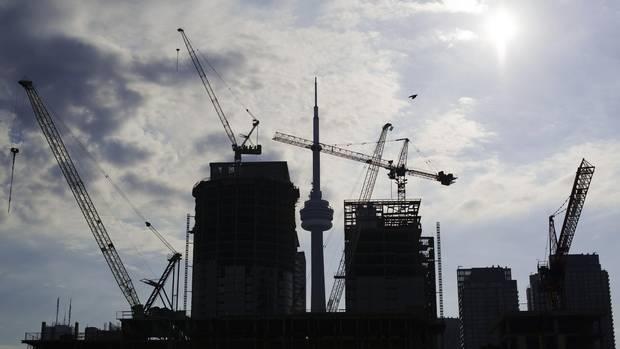 Condominiums are seen under construction in Toronto.