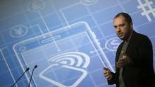 WhatsApp Chief Executive Office and co-founder Jan Koum delivers a speech at the Mobile World Congress in Barcelona February 24, 2014. (Albert Gea/Reuters)