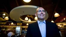 Steven Del Duca, the candidate chosen to represent the Liberals in September's by-election in Vaughan, toured the Maple GO station then stopped at a bakery in his riding on Aug. 28, 2012. (Galit Rodan/The Globe and Mail)