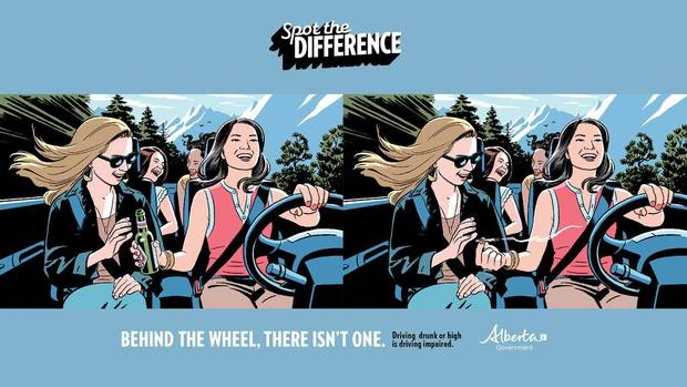 Spot the Difference ad campaign against marijuana and driving by the Alberta Government.