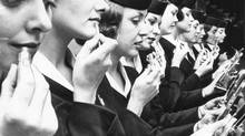 Trans-Canada Air Lines stewardesses take a refresher course in makeup at Vancouver Internatinal Airport in 1961. (CP)