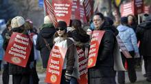 Hundreds of elementary school teachers picket in front of York Region District School Board offices in Aurora, December 13, 2012. (J.P. MOCZULSKI For The Globe and Mail)
