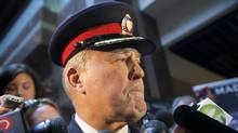 Toronto Police Chief Bill Blair speaks at police headquarters on Nov. 5, 2013. Talks to discuss the 2014 police budget are expected to bring the long simmering tension between the Ford family and Chief Blair to a head on Dec. 11, 2013. (MOE DOIRON/THE GLOBE AND MAIL)