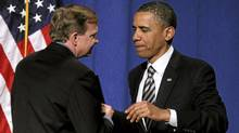 President Barack Obama is introduced by campaign manager Jim Messina before he speaks at a campaign fundraising event at The Town Hall in New York, Wednesday, April 27, 2011. (Charles Dharapak/The Associated Press/Charles Dharapak/The Associated Press)
