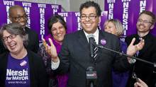 Mayoral candidate Naheed Nenshi celebrates his election win at his campaign office. (Chris Bolin/Chris Bolin for The Globe and Mail)