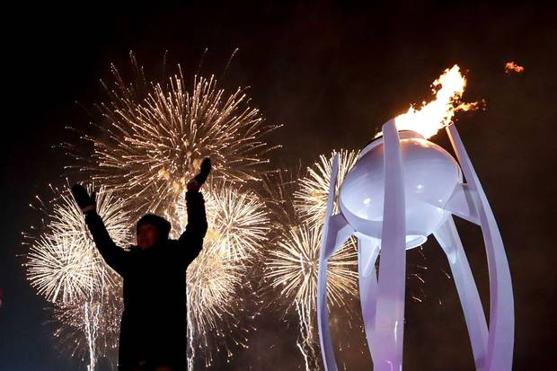Feb. 9, 2018: Fireworks erupt as the cauldron is lit with the Olympic flame during the opening ceremony of the Pyeongchang 2018 Winter Olympic Games.