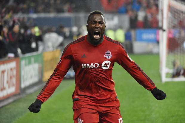 Toronto FC forward Jozy Altidore celebrates after scoring Toronto's second goal during the Nov. 30 game against the Montreal Impact.