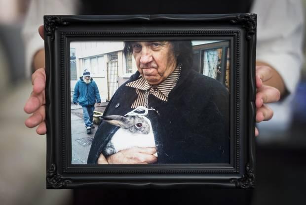 Photos on display at Joerg Yogi Brylla's memorial service on Dec. 5, 2014.