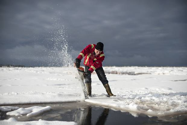Brian Lewis, co-owner of Future Seafood, cuts through the ice with a chainsaw to look for their oyster trays on Salutation Cove.
