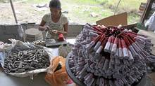 A woman makes firecrackers in a backyard factory in Bocaue town in Bulacan province, north of Manila Dec. 26, 2011. (Romeo Ranoco/Reuters/Romeo Ranoco/Reuters)