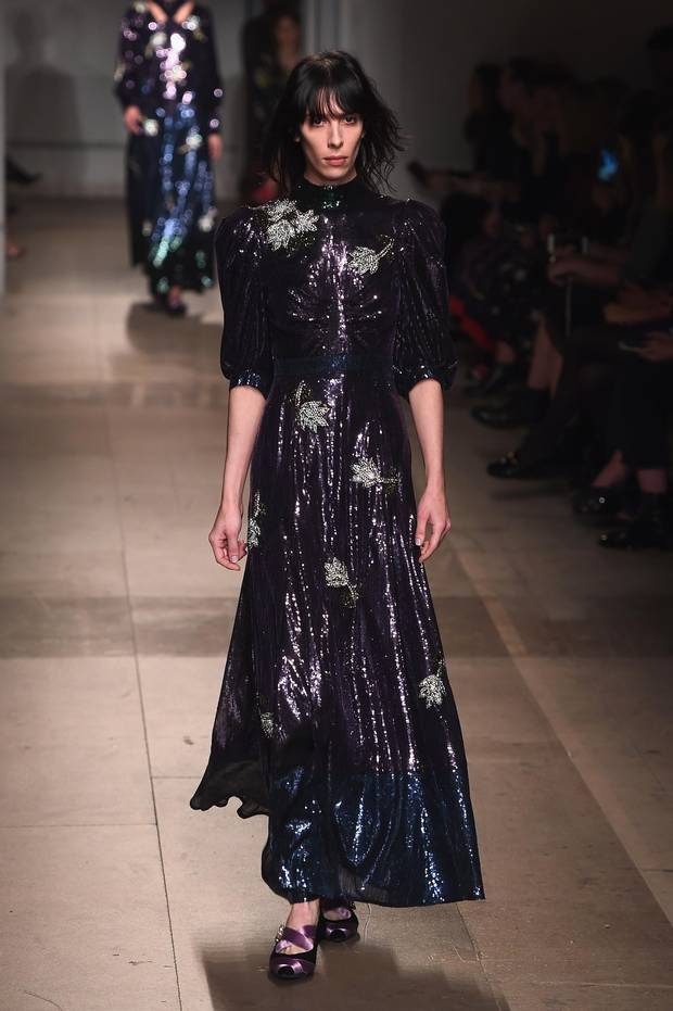 A model walks the runway at the ERDEM show during the London Fashion Week February 2017 collections on February 20, 2017 in London, England.