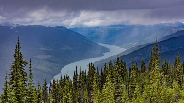 An elevated view of Lake Revelstoke from Mount Revelstoke, B.C.