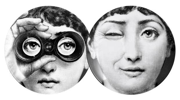 Fornasetti Theme & Variations Plates Series No. 130 and No. 286, $225 each at Studio Pazo (studiopazo.ca).
