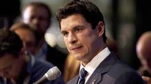 Pittsburgh Penguins Sidney Crosby speaks to journalists following collective bargaining talks in Toronto on Thursday October 18, 2012 (The Canadian Press)