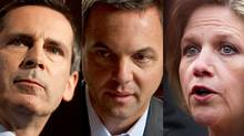 Ontario Liberal Leader Dalton McGuinty, Progressive Conservative Leader Tim Hudak and the NDP's Andrea Horwath are shown in a photo combination. (REUTERS, THE GLOBE AND MAIL and CANADIAN PRESS)