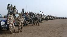Hundreds of Chadian soldiers jonied forces with their French allies to take the town and airport of Tessalit from jihadists on Feb. 8, 2013. (CHEICK DIOUARA/REUTERS)
