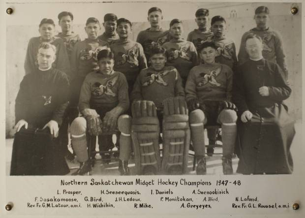 Sasakamoose's midget hockey team from Duck Lake made it to the provincial championships in 1947-48, but lost in the finals.