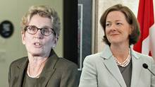 Ontario Premier Kathleen Wynne, left, is set to meet her Alberta counterpart Alison Redford in Calgary Oct. 25.
