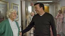 Mark (Ricky Gervais) visits his ailing mum (Fionnula Flanagan) at A Sad Place for Hopeless Old People. (Sam Urdank/© 2008 Truth Productions, LLC.)