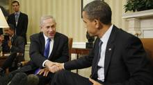 Israel's Prime Minister Benjamin Netanyahu, left, shakes hands with U.S. President Barack Obama during their meeting in the Oval Office of the White House in Washington on March 5, 2012. (Jason Reed/Reuters/Jason Reed/Reuters)