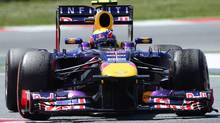Red Bull driver Mark Webber of Australia steers his car during the Formula One Spanish Grand Prix at the Catalunya racetrack in Montmelo, near Barcelona, Spain. (Sunday, May 12, 2013) (Manu Fernandez/AP Photo)