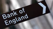 A Bank of England sign is seen outside the central bank in this file photo. (STEPHEN HIRD/REUTERS)
