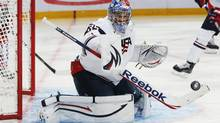 Team USA's goalie John Gibson makes a save against Russia during the second period of their preliminary round game during the 2013 IIHF U20 World Junior Hockey Championship in Ufa, December 28, 2012. (MARK BLINCH/REUTERS)