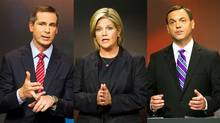 Ontario Liberal Leader Dalton McGuinty , the NDP's Andrea Horwath and Progressive Conservative Leader Tim Hudak are shown in a photo combination taken from the provincial election debate in Toronto on Sept. 27, 2011. (The Canadian Press)
