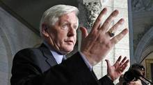 Interim Liberal Leader Bob Rae speaks to reporters in the foyer of the House of Commons on June 13, 2012. (Chris Wattie/Reuters)