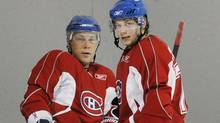 Brothers Andrei and Sergei Kostitsyn in Montreal on Sept. 20, 2008. Both players are now in Nashville. (Graham Hughes/The Canadian Press/Graham Hughes/The Canadian Press)