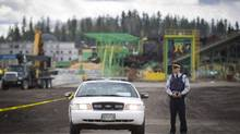 An RCMP cruiser sits on a road in Prince George. A similar car was stomped on by a moose Thursday. (John Lehmann/The Globe and Mail)