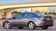 For 2010, the TSX V-6 has grown larger and needs the extra torque the V-6 engine provides. Honda (Honda/Wieck)
