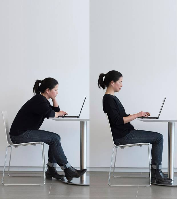 Globe and Mail writer Wency Leung, who will be writing about posture in an upcoming Globe and Mail story, is photographed at the Globe offices on March 20 2017.