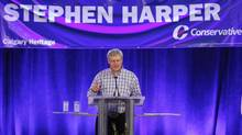 Canadian Prime Minister Stephen Harper addresses his supporters at his annual Stampede BBQ in Calgary, Alberta, July 5, 2014. (TODD KOROL/REUTERS)