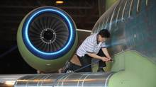 Assembly of Bombardier Inc.'s Global Express jet being manufcatured at he company's Toronto assembly plant are photographed on May 29, 2012. (Fred Lum/The Globe and Mail)