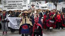 Protesters from the Heiltsuk First Nation rally in Vancouver against the proposed Enbridge pipeline, March 26, 2012. (John Lehmann/The Globe and Mail/John Lehmann/The Globe and Mail)