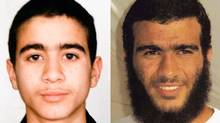 Omar Khadr, left, as a child in a photo provided by his family. And right, in custody in Guantanamo Bay in 2009.