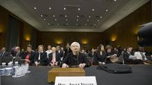 Janet Yellen testifies at her confirmation hearing before the Senate banking committee. (J. SCOTT APPLEWHITE/AP)