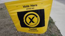 A polling station sign at a Mississauga voting station, Wednesday, Oct. 10, 2007. (J.P. Moczulski/ The Canadian Press/J.P. Moczulski/ The Canadian Press)