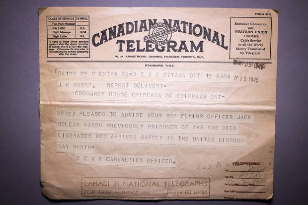 A telegram from May 15, 1945, notifies Jack Maclean Mason's parents of his liberation and safe arrival in Britain.