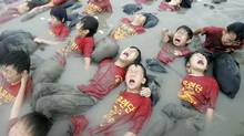 South Korean elementary school students at a marine boot camp in Ansan in this 2008 photo. About 70 students took part in the three-day camp as a way to mentally and physically strengthen themselves. (Ahn Young-joon/Ahn Young-joon/Associated Press)