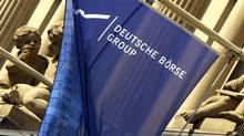 A file photo shows a flag of the German stock market operator Deutsche Boerse at the Frankfurt stock exchange. (THOMAS LOHNES/AFP/Getty Images)