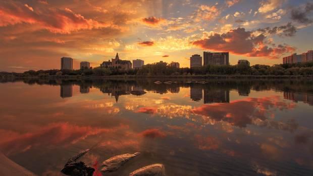 Sunset on the Saskatchewan River.