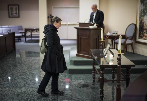 Vancouver homeless advocate Judy Graves attends a memorial service for Joerg Yogi Brylla on Dec. 5, 2014.