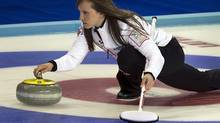 Canada's skip Rachel Homan delivers a rock against Russia at the world women's curling championship (Andrew Vaughan/THE CANADIAN PRESS)